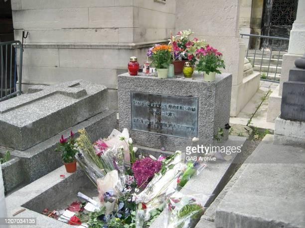 Jim Morrison's grave in Pere Lachaise Cemetery in Paris, France, circa 2000.