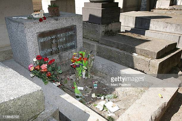 Jim Morrison's grave in the 'Pere Lachaise' cemetery on May 8 2011 in Paris France