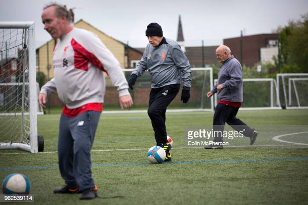 Jim Mounsey taking part in a session of walking football at Anfield Sports and Community Centre in Liverpool. The initiative for men over the age of...