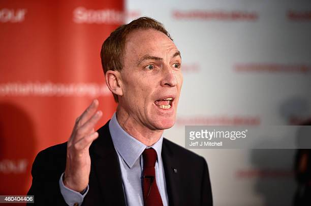 Jim Murphy makes a speech after being announced as the new leader of the Scottish Labour Party on December 13 2014 in Glasgow Scotland The former...