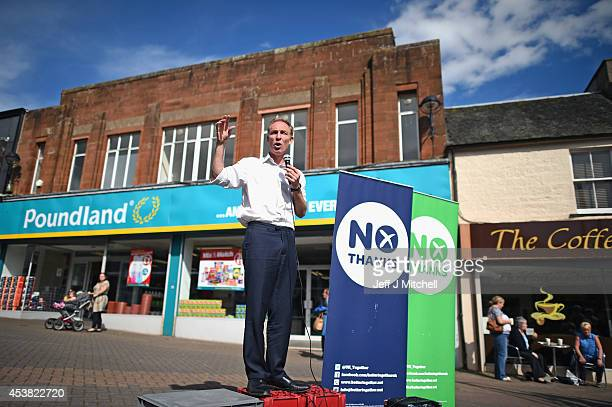 Jim Murphy Shadow Secretary of State for International Development talks to members of the public in Bathgate during his '100 Towns in 100 Days' tour...