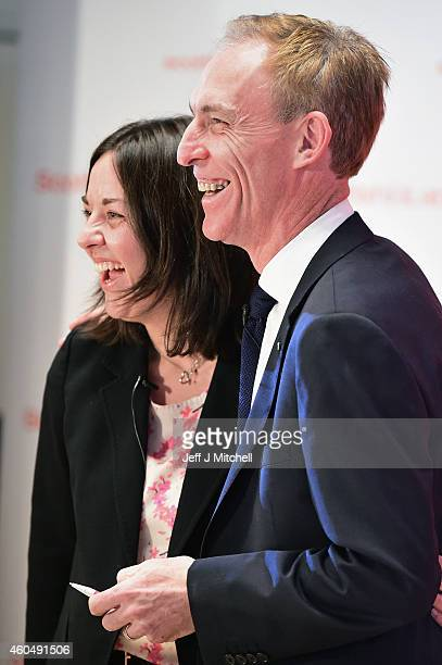 Jim Murphy shares a joke with Kezia Dugdale deputy leader as he gives his first major speech since his election as the new Scottish Labour leader on...