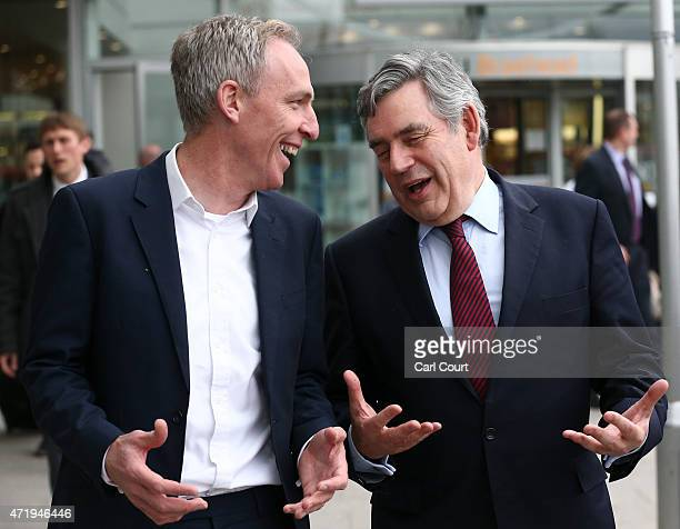 Jim Murphy the leader of the Scottish Labour Party and Former Prime Minister Gordon Brown attend a Labour Party campaign event on May 2 2015 in...
