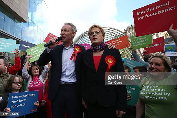 Jim Murphy the leader of the Scottish Labour Party campaigns with comedian Eddie Izzard on May 4 2015 in Glasgow Scotland Campaigning is continuing...