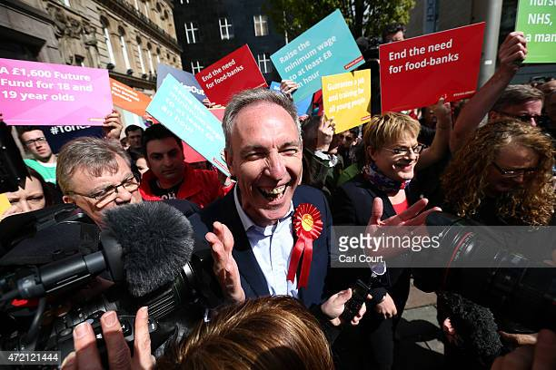Jim Murphy , the leader of the Scottish Labour Party, campaigns with comedian Eddie Izzard on May 4, 2015 in Glasgow, Scotland. Campaigning is...
