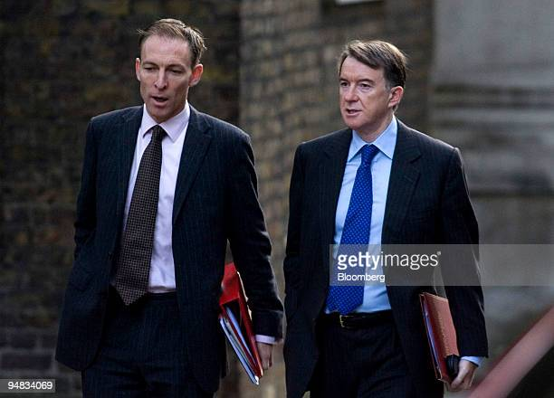 Jim Murphy UK secretary of state for Scotland left and Peter Mandelson UK secretary of state for business arrive for the weekly cabinet meeting at...