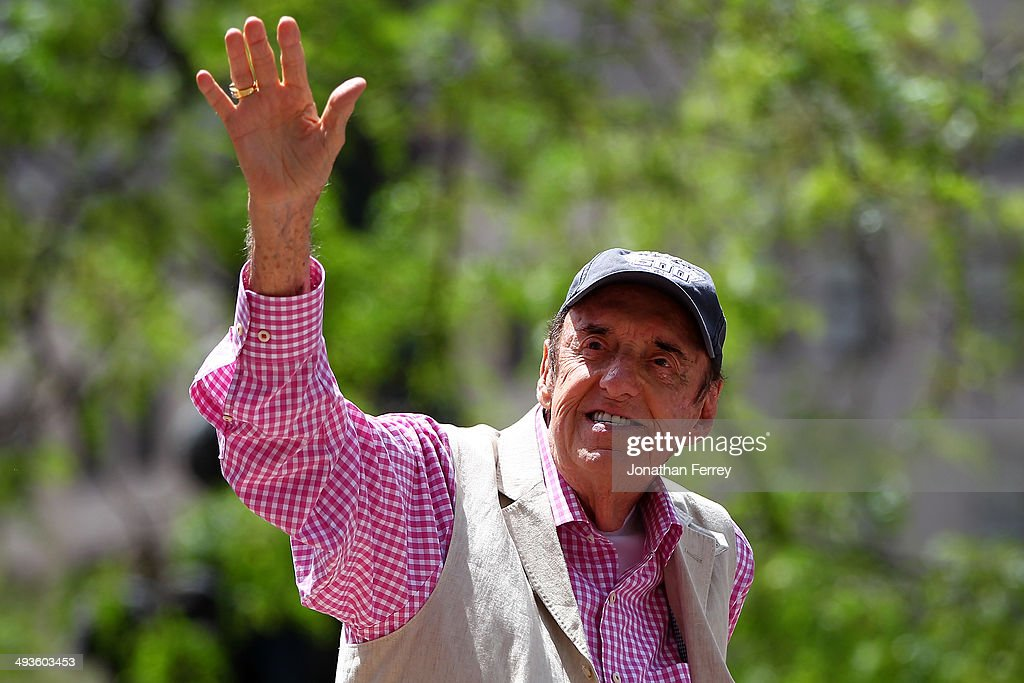 Jim Nabors waves to the crowd during the Indianapolis 500 parade on May 24, 2014 in Indianapolis, Indiana.