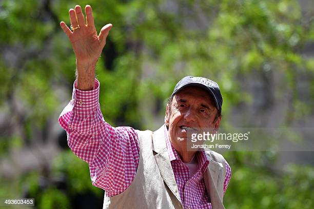 Jim Nabors waves to the crowd during the Indianapolis 500 parade on May 24 2014 in Indianapolis Indiana