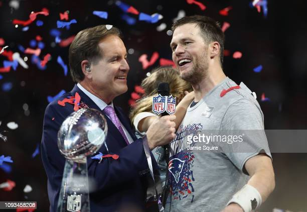 Jim Nantz interviews Tom Brady of the New England Patriots after the Patriots defeat the Los Angeles Rams 13-3 during Super Bowl LIII at...