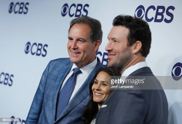 Jim Nantz Tracy Wolfson and Tony Romo attend 2017 CBS Upfron at The Plaza Hotel on May 17 2017 in New York City