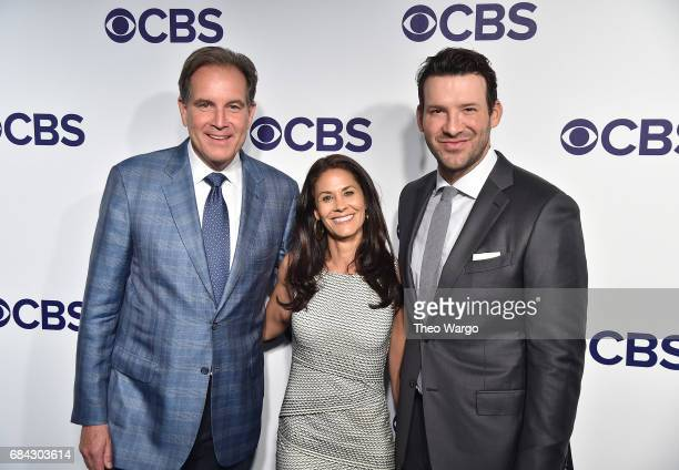 Jim Nantz Tracy Wolfson and Tony Romo attend the 2017 CBS Upfront on May 17 2017 in New York City