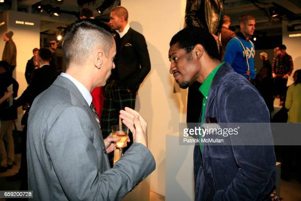 Jim Nelson and Andre 3000 Benjamin attend GQ/CFDA Honor Second Annual Best New Menswear Designer in America Finalists at Rockefeller Center on...
