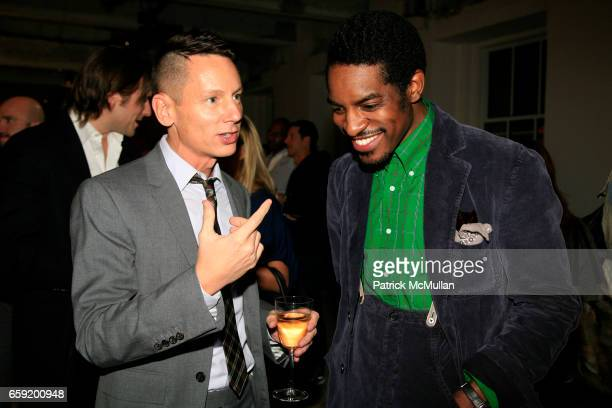 Jim Nelson and Andre '3000' Benjamin attend GQ/CFDA Honor Second Annual 'Best New Menswear Designer in America' Finalists at Rockefeller Center on...