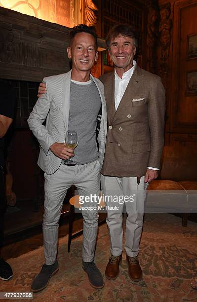 Jim Nelson and Brunello Cucinelli attend GQ Party for Jim Moore during Milan Menswear Fashion Week Spring/Summer 2016 at Casa Degli Atellani on June...