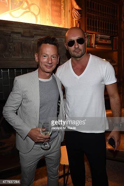 Jim Nelson and Milan Vukmirovic attend GQ Party for Jim Moore during Milan Menswear Fashion Week Spring/Summer 2016 at Casa Degli Atellani on June 20...