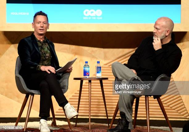 Jim Nelson and Ryan Murphy speak onstage at GQ Live American Genius Story The Mind Of Ryan Murphyat NeueHouse Los Angeles on December 08 2018 in...