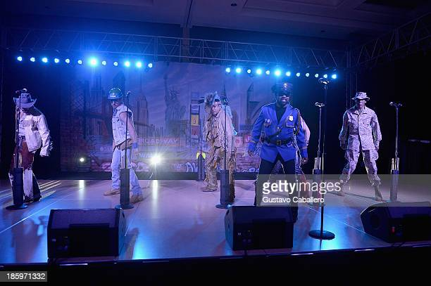 Jim Newman Bill Whitefield Felipe Rose Eric Anzalone Ray Simpson and Alex Briley of Village People performs at the 13th Annual Footy's Bubbles Bones...