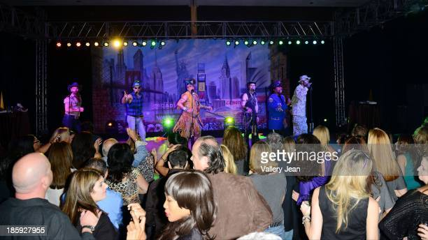 Jim Newman Bill Whitefield Ray Simpson Eric Anzalone and Alex Briley of The Village People perfoms at the 13th Annual Footy's Bubbles Bones Gala at...