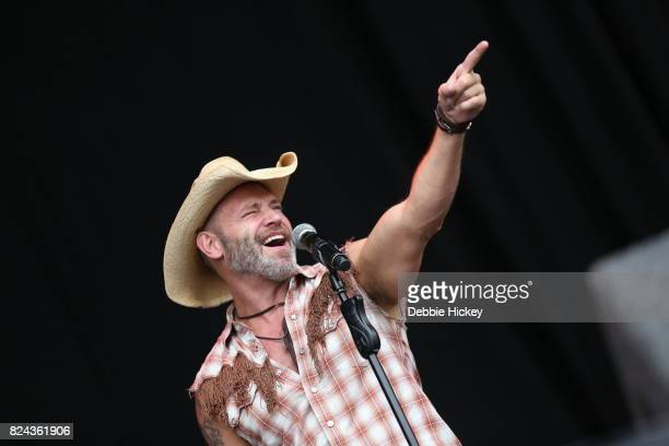 Jim Newman of Disco group the Village People performs on stage during Punchestown Music Festival at Punchestown Racecourse on July 29 2017 in Naas...