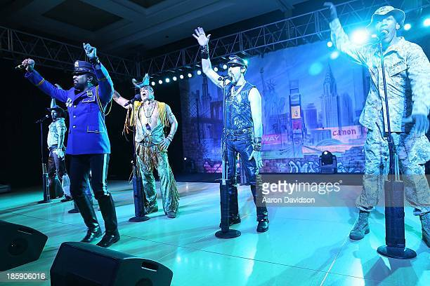Jim Newman Ray Simpson Felipe Rose Eric Anzalone and Alex Briley of Village People during their pefomance at the 13th Annual Footy's Bubbles Bones...