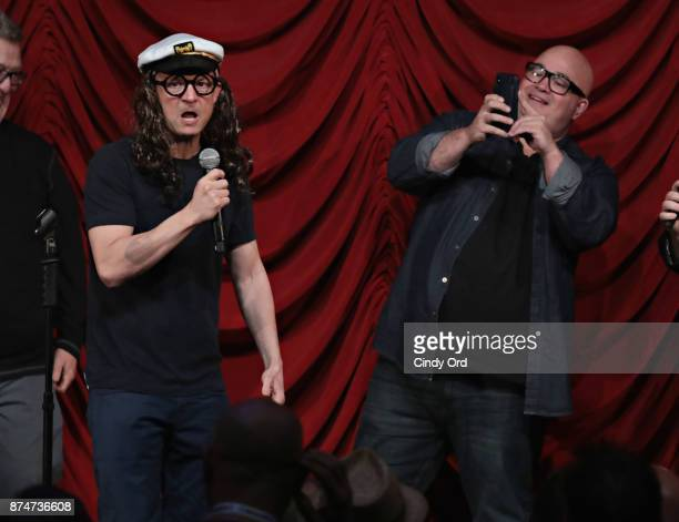 Jim Norton and Robert Kelly take part in SiriusXM host Ron Bennington's annual Thanksgiving Special at Hard Rock Cafe Times Square on November 14...