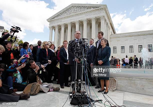 Jim Obergefell, the plaintiff in the marriage equality case, speaks outside of the Supreme Court of the United States on April 28, 2015 in...