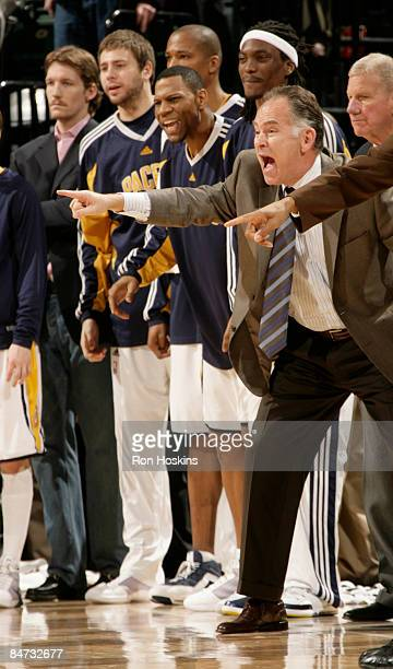 Jim O'Brien head coach of the Indiana Pacers directs his team to a victory over the Cleveland Cavaliers 9695 at Conseco Fieldhouse on February 10...