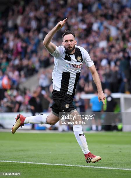Jim O'Brien of Notts County celebrates scoring the opening goal during the Vanarama National League match between Notts County and Stockport County...