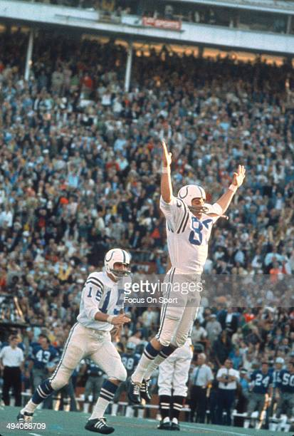 Jim O'Brien of the Baltimore Colts celebrates after making the go ahead field goal against the Dallas Cowboys during Super Bowl V on January 17 1971...