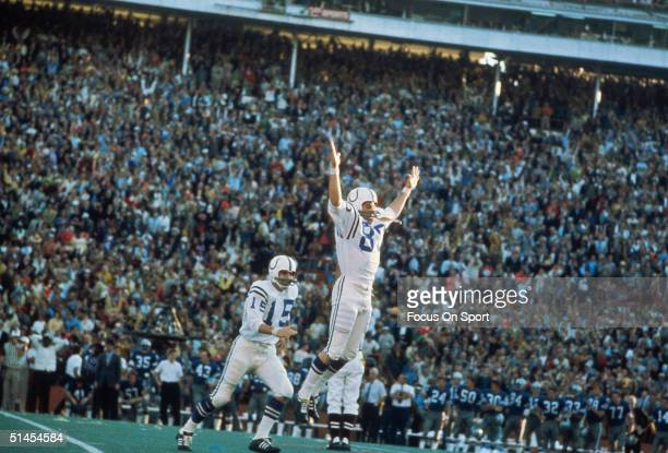 Jim O'Brien of the Baltimore Colts jumps into the air in celebration after winning Super Bowl V at the Orange Bowl in Miami Florida on January 17...