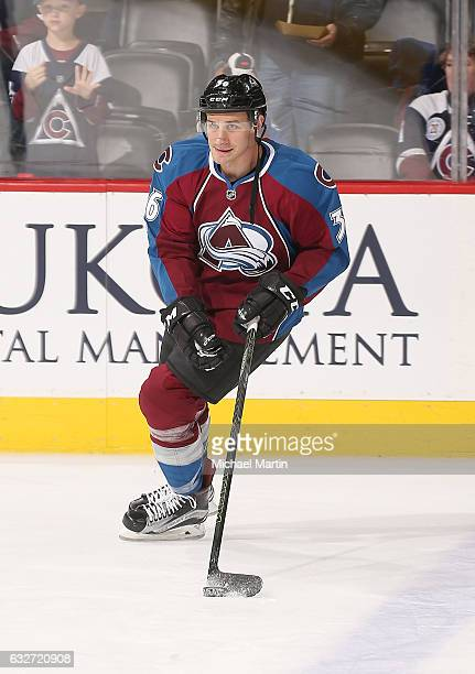 Jim O'Brien of the Colorado Avalanche skates during warm ups prior to the game against the Vancouver Canucks at the Pepsi Center on January 25 2017...