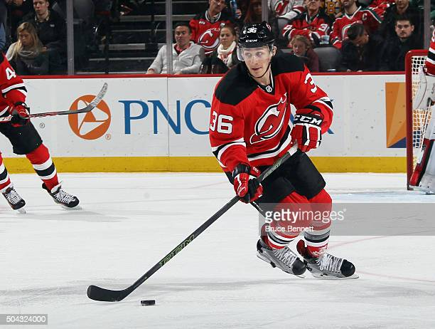 Jim O'Brien of the New Jersey Devils skates in his first NHL game against the Boston Bruins at the Prudential Center on January 8 2016 in Newark New...