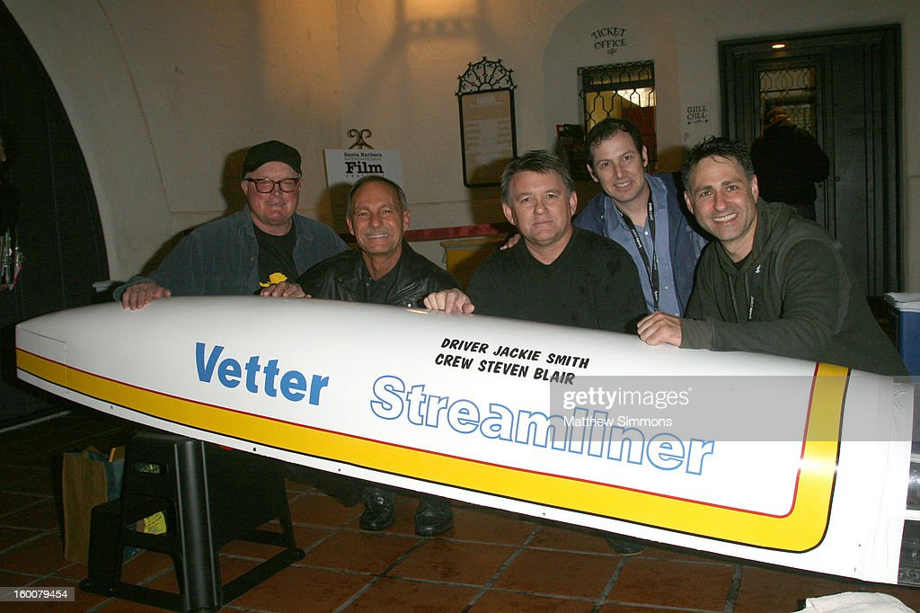 Jim O'Mahoney, Guy Grundy, Jackie Smith, director Mike Horelick and director Jon Carnoy attend the premiere of 'The Signal Hill Speed Run' at the Lobero Theatre during the 28th Santa Barbara International Film Festival on January 25, 2013 in Santa Barbara, California.
