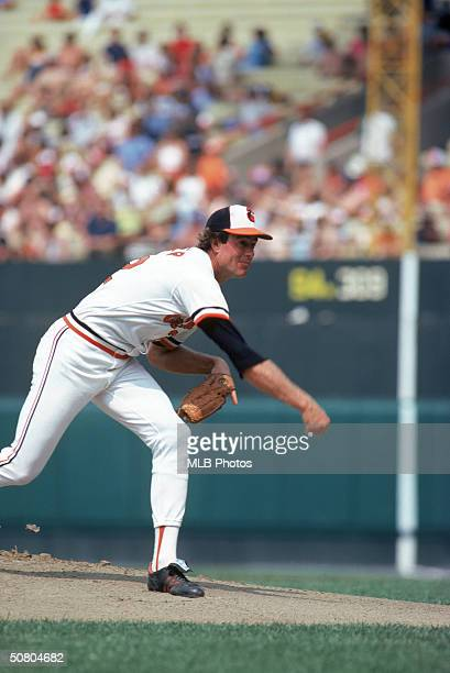 Jim Palmer of the Baltimore Orioles delivers a pitch during a game Palmer played for Baltimore from 19651984