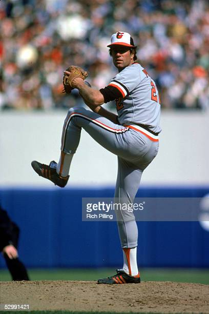 Jim Palmer of the Baltimore Orioles pitches during a 1982 season MLB game at Tiger Stadium in Detroit Michigan