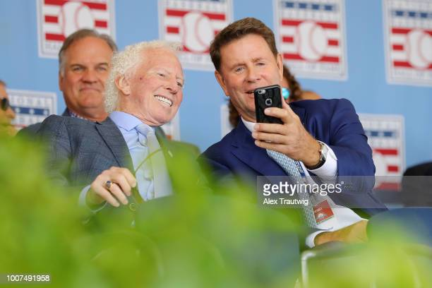 Jim Palmer takes a selfie with Don Sutton during the 2018 Hall of Fame Induction Ceremony at the National Baseball Hall of Fame on Sunday July 29...