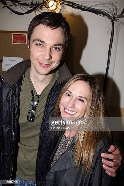 Jim Parsons and Holly Hunter pose backstage at the hit play 'The Normal Heart' on Broadway at The Golden Theater on May 4 2011 in New York City