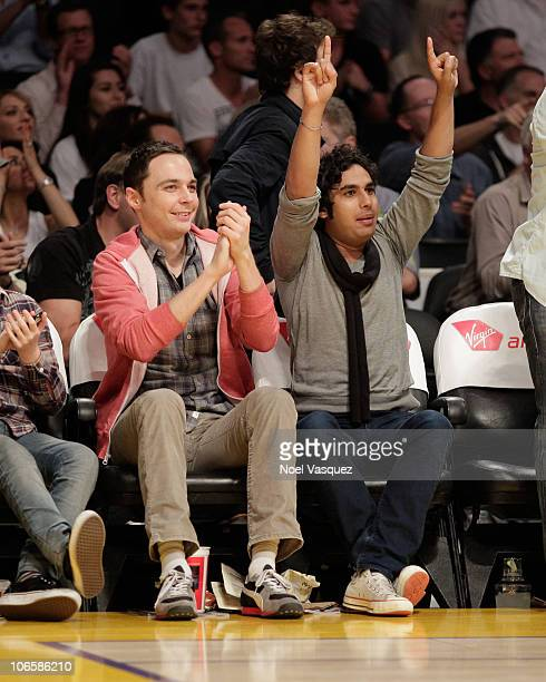 Jim Parsons and Kunal Nayyar attend a game between the Toronto Raptors and the Los Angeles Lakers at Staples Center on November 5 2010 in Los Angeles...