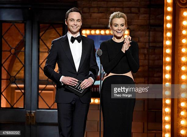 Jim Parsons and Taylor Schilling speak onstage during the 2015 Tony Awards at Radio City Music Hall on June 7, 2015 in New York City.