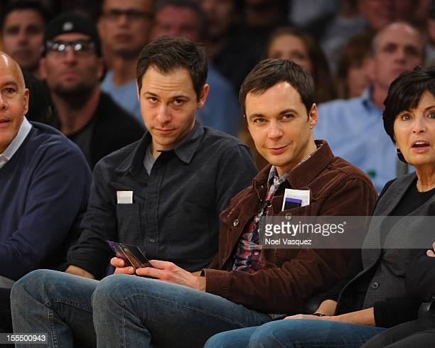 Jim Parsons and Todd Spiewak attend a basketball game between the Detroit Pistons and the Los Angeles Lakers at Staples Center on November 4 2012 in...