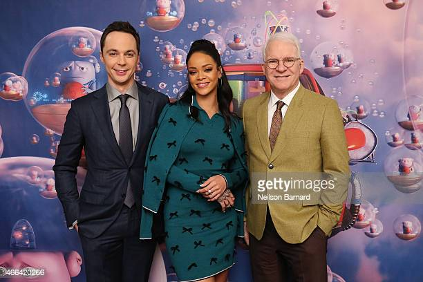 Jim Parsons Rihanna and Steve Martin promote their new animated feature 'Home' at Mandarin Oriental on March 15 2015 in New York City