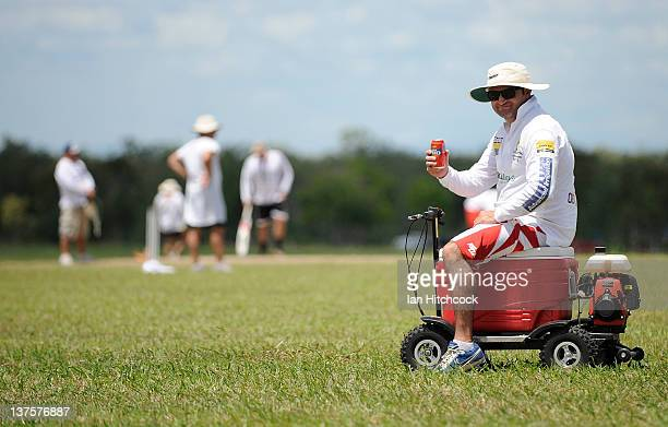Jim Payne from the team 'Fat Bats' sits on a motorised drinks esky during the 2012 Goldfield Ashes cricket competition on January 21 2012 in Charters...