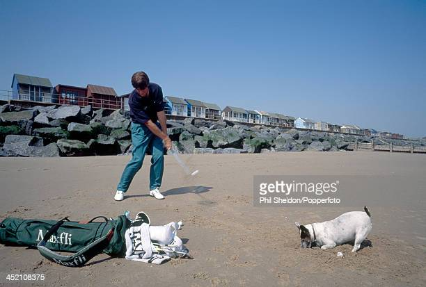 Jim Payne of Great Britain practicing on the beach near his home at Sandilands Lincolnshire circa 1994