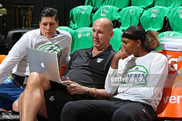 Jim Petersen watches film with Janel McCarville and Rebekkah Brunson of the Minnesota Lynx before Game Five of the 2016 WNBA Finals against the Los...