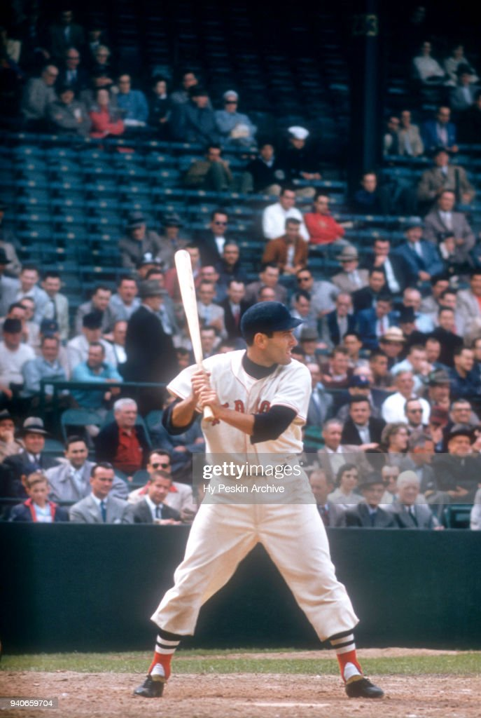 Jim Piersall #37 of the Boston Red Sox bats during an MLB game circa 1957 at Fenway Park in Boston, Massachusetts.