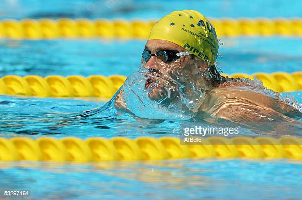 Jim Piper of Australia competes in the preliminary heats of the 200 meter Breaststroke during the XI FINA World Championships at the Parc JeanDrapeau...