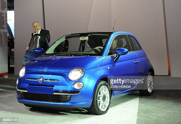 Jim Press Vice Chairman of Chysler walks out of new Fiat 500 as it is unveiled at the New York International Auto Show April 8 2009 in New York AFP...