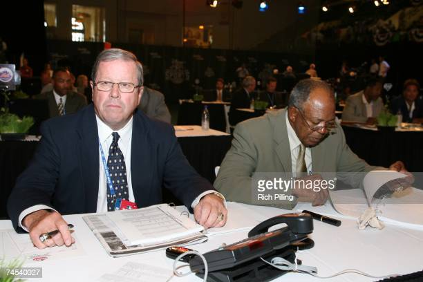 Jim Rantz, left and Tony Oliva of the Minnesota Twins look on during the 2007 First-year player draft at The Milk House in Disney's Wide World of...