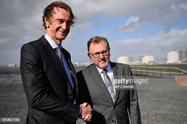 Jim Ratcliffe CEO of INEOS meets with David Mundell Secretary of State for Scotland at the Grangemouth plant as the first ship carrying shale gas...