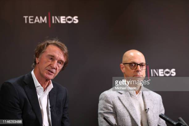 Jim Ratcliffe of Great Britain INEOS Founder And Chairman / Dave Brailsford of Great Britain Team Manager of Team INEOS / during the Team INEOS -...